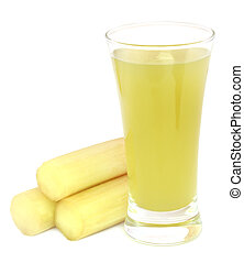 Juice with pieces of sugarcane