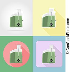 juicer household appliances for kitchen flat icons vector illustration