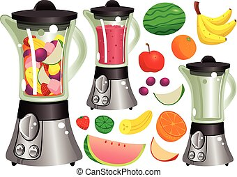 Juicer machine.eps - Several illustrations of a typical...