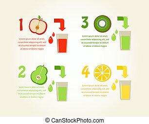 juices., gesunde, fruechte, vorbereitung, vektor, infographics