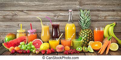 juices, növényi, különféle, gyümölcs