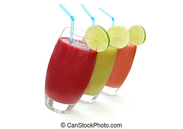 Selection of different refreshing fruit juices