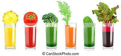 vegetable and fruit juice on a white background