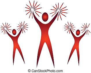 juichen, bemoedigen, hand, leiders, rekwisieten