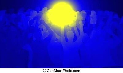 juichen, mensenmenigte, revolutie, gezicht, geel licht, ronde, &, pilgrims.