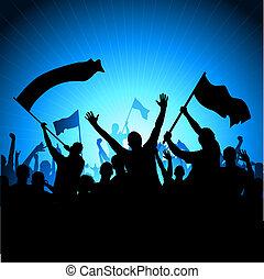 juichen, publiek, met, vlaggen