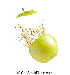 juicy apple is exploding, cut out from white background