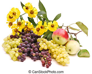 Juicy apples and grapes