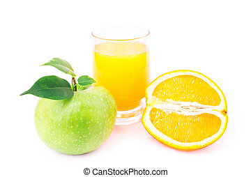 Juicy apples and oranges and fresh juice