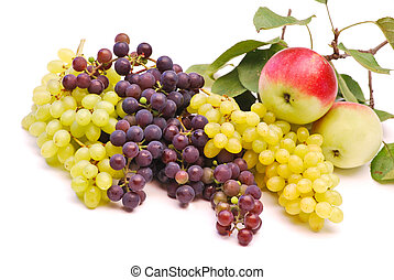 Juicy apples, grapes isolated on white background