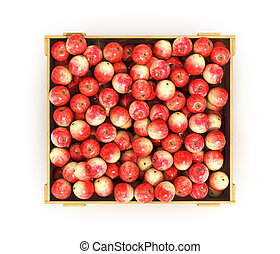 Juicy apples in a wooden box, top view