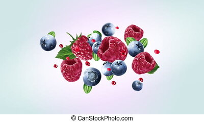 Juicy berries are flying in slow motion. - Raspberry and ...