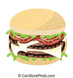 Juicy Cheese Burger on A White Background