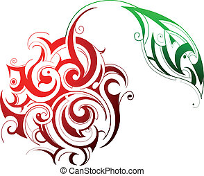 Juicy cherry shape - Vector illustration of artistic cherry...