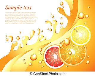Juicy citrus splashes horizontal background in vector