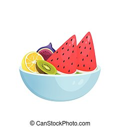 Juicy colorful fruit in bowl isolated over white background