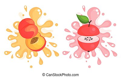 Juicy Cut Fruits with Pulpy Splashes and Blots Vector Set. ...