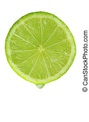 Drip of lime juice leaving a lime