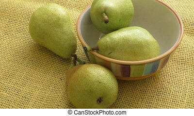 Juicy flavorful pears of nature background. Fresh organic...