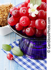 cranberries in a blue plate