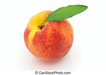 Juicy fresh peach with leaves on a white background