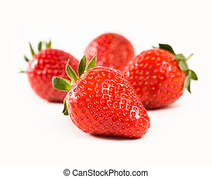 Juicy fresh strawberries. - Macro shot of juicy fresh ...