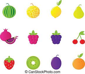 Juicy Fruit Icons Set isolated on white