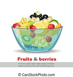 Juicy fruit salad glass bowl poster on white