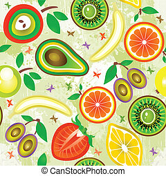 Juicy fruits Seamless Pattern. Vector.
