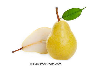 Juicy golden pear - A juicy ripe golden pear studio isolated...