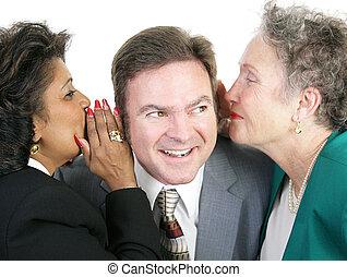 Juicy Gossip at Work - Closeup of a man listening to gossip ...