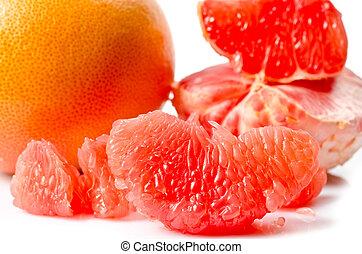 Juicy grapefruit isolated on white background