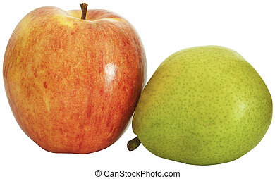 Juicy green pear and red apple.