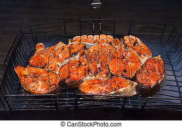 grilled fish on a grill
