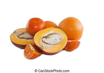 Juicy mango, orange and tangerine