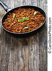 juicy meat ragout bolognese , top view