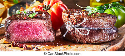 Juicy medium rare fillet steak mignon