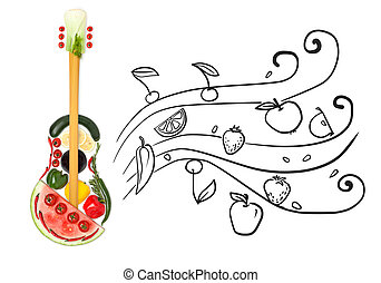 Creative photo of a standing guitar made of vegetables and fruits on grey sketchy background of flowing fruity notes.