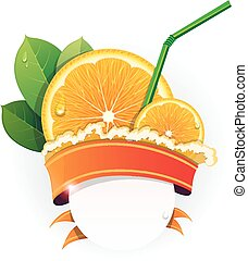 Juicy orange slices - Orange slices with leaves, straw and...
