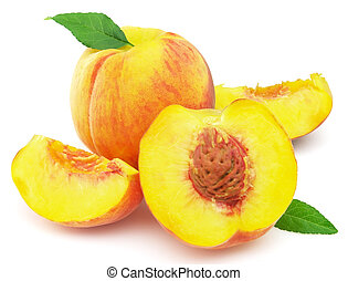 Sweet juicy peaches with leaves