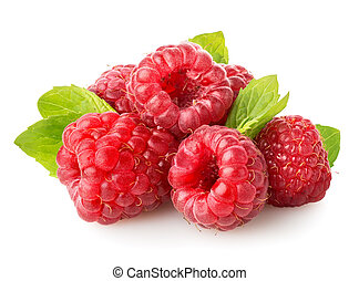 Raspberry with green leaf isolated on white