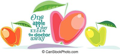 vector illustration of a juicy apples. lettering one apple a day keeps the doctor away
