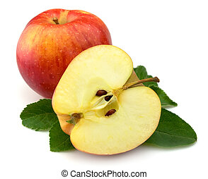 Juicy red apples with leaves on a white background