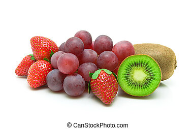 kiwi, grapes and strawberries on a white background