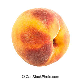 Bright juicy ripe peach close up on white background.