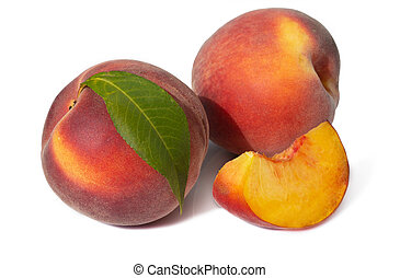 Juicy ripe peachs isolated on white background