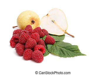 Juicy, ripe pears and raspberries on a white.