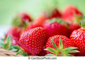 Juicy ripe strawberries in basket