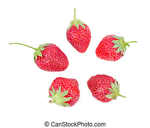 juicy ripe strawberries with leaves on a white background