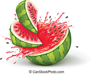 Juicy ripe watermelon cuts with splashes of juice drops. ...